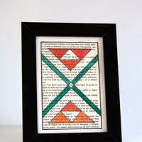 Geometric tribal OOAK sigil painting on 4x6 inch recycled paper - Triangle cross