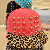cool Leopard grain rivet cap hat