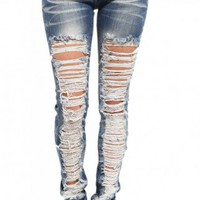 Destroyed Medium Wash Skinny Denim