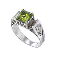 Peridot Prosperity Ring                            - New Age, Spiritual Gifts, Yoga, Wicca, Gothic, Reiki, Celtic, Crystal, Tarot at Pyramid Collection