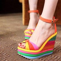 [5793-Size 36] Rainbow Color High Wedge Sandals