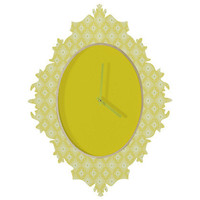 Caroline Okun Yellow Spirals Baroque Clock by DENY Designs at Gilt