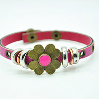 Women leather bracelet Copper Flower Pink Leather bracelet Charm Bracelet  RZ0246