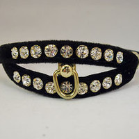2 ROW SPLIT RHINESTONE JEWEL VELVET DOG PUPPY PET CAT COLLAR BLACK