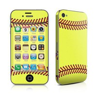 Softball Design Protective Decal Skin Sticker High Gloss Coating for Apple iPhone 4 / 4S
