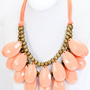 Large Layered Teardrop Necklace in Peach
