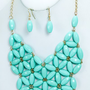 Floral Bib Necklace Set in Turquoise