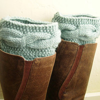 Mint green Leg Warmers  Mint Boot Cuffs  Cable by MaryKCreation
