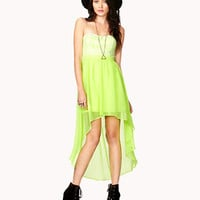 Neon Lace High-Low Dress