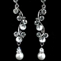 Swarovski Flower Petals Wedding Earrings, Crystal Pearl Bridal Jewelry - SARI | yjdesign - Wedding on ArtFire