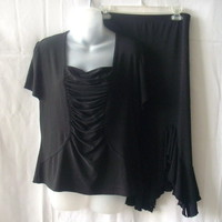 Artex Collection large black polyester & spandex short-sleeve top and skirt