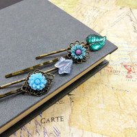 Flower Bobby Pins, Emerald Green & Blue Bobbies Set , Spring Wedding Accessories by Flower Couture
