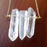 Raw Crystal Quartz Necklace : 3 Stone Point Pendant in Gold, A BEST SELLER