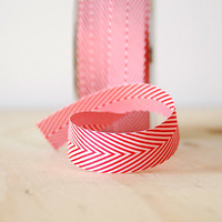 5 Yards Red and White Chevron Twill Tape Ribbon .75 Inch
