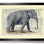 Painted Wild Elephant Upcycled Book Art Upcycled Vintage Book Page Antique Dictionary Buy 2 Get 1 FREE