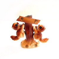 Ceramic Squirrel / Tree Salt and Pepper Shakers by JAPAN