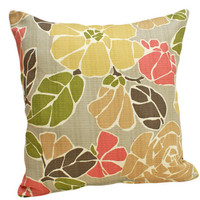 Floral Decorative Pillows Modern Gray Green by PillowThrowDecor