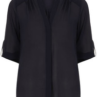 Navy roll sleeve shirt - Tops  - Clothing
