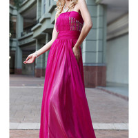 2012 New In Stock Dresses Fuchsia Strapless Neckline Floor Length Rhinestones Tencel Chiffon Evening Dress-SinoSpecial.com