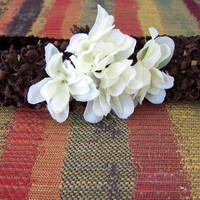 Chocolate Ivory Cotton Blossom Flower Crochet Headband by OhMeeToo