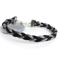 Braided leather bracelet silver black unisex cuff rocker elegant men women