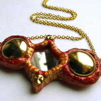 Red &amp; Gold Studded Framed Mirror Necklace by trophies on Etsy
