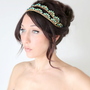 Bridal Headband, Art Deco style, Blue Peacock Rhinestone, Bridal Hair,Tiara, wedding accessory, bridal headpiece, Flapper - La Croitre - -