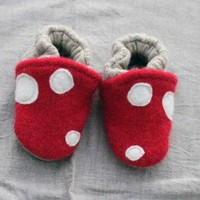Little Mushroom Baby Slippers Leather Bottom fits 06 by 4pippi
