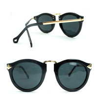 Cupid Arrow Frame Black Retro Sunglasses