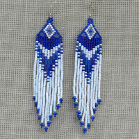 Blue and White Earrings. Native American Earrings Inspired. Dangle Long Earrings. Beadwork.