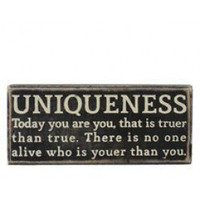 uniqueness plaque at patina.com