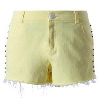 Chicwish Studded Light Yellow Shorts
