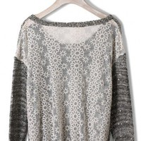 Rivets Decor Lace Back Sweater
