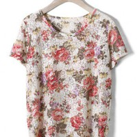 Floral Painting Whole Lace T-shirt