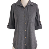 ModCloth Menswear Inspired Mid-length Short Sleeves Keep It Casual-Cool Top