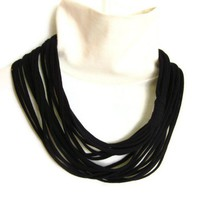 Black Infinity Scarf Upcycled Necklace Repurposed Eco Jersey Knit Teen