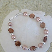 Brown Mother of Pearl and Silver Bead Bracelet | pattysdreamdesigns - Jewelry on ArtFire