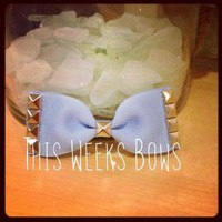 Pale Periwinkle Studded Hair Bow by ThisWeeksBows on Zibbet