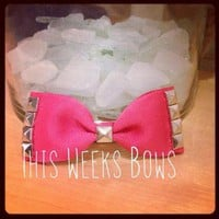 Bright Pink Studded Hair Bow THREE COLORS TO CHOOSE FROM by ThisWeeksBows on Zibbet