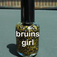 Bruins Girl - black & gold/yellow glitter nail polish 12ml