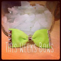 Lime Green Studded Hair Bow by ThisWeeksBows on Zibbet