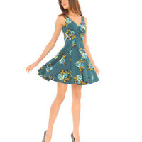 ROSE PRINT FIT N FLARE DRESS - Betsey Johnson
