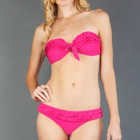 WS51 Strapless Ruffle Bikini Set FUCHSIA
