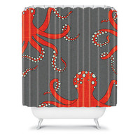 DENY Designs Home Accessories | Holli Zollinger Octopus Red Shower Curtain