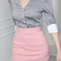 slant mini skirt