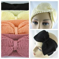 Womens Hand Knit Ear Warmer Bow Off White Black Rose Peach Earwarmer