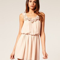 ASOS | ASOS Waisted Dress with Rose Trim at ASOS