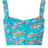 Zebra Cupped Bralet Top - Jersey Tops  - Clothing