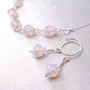 Pink Opalite Necklace and Earrings Set Sterling Silver Chain