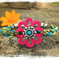 Spring HIPPIE Flower BRACELET Braided Bracelets Cotton Wood FLOWER bracelet Stackable Friendship bracelets Gypsy Hippie Boho jewelry